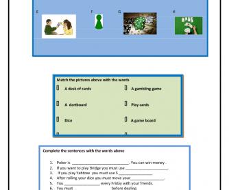 Games Vocabulary Worksheet