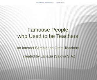 Famous People who used to be Teachers (for Russian ESL students)