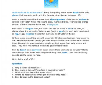 Water: The Stuff of Life (For Intermediate ESL & Grades 3-5)