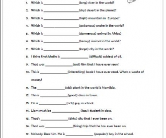 Superlative Adjectives Worksheet