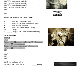 Song Worksheet: Ho Hey by The Lumineers