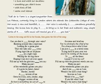 Song Worksheet: Faster by Sofi de la Torre