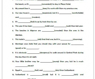Comparative Adjectives Worksheet