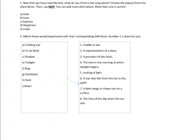 Song Worksheet : Cosmic Love by Florence + The Machine's