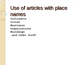 Use of Articles with Place Names
