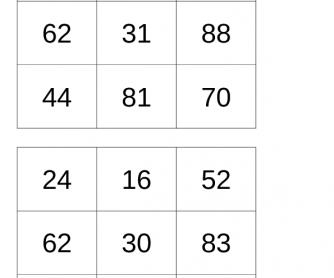 Bingo Game - Cardinal Numbers