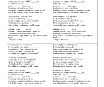 Song Worksheet: Fool Car by the Beatles