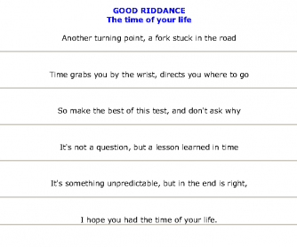 Song Worksheet: Good Riddance (Time of Your Life) by Green Day