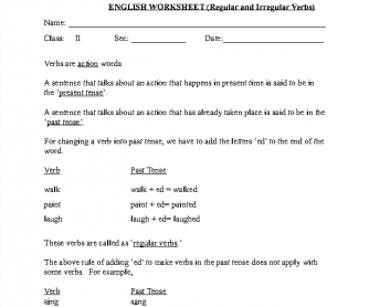 Regular/Irregular Verbs