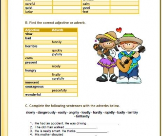Adverbs of Manner Elementary Worksheet