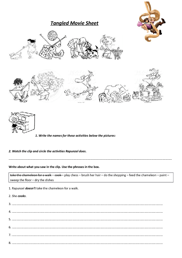 Movie Worksheet Tangled Daily Routines And Household