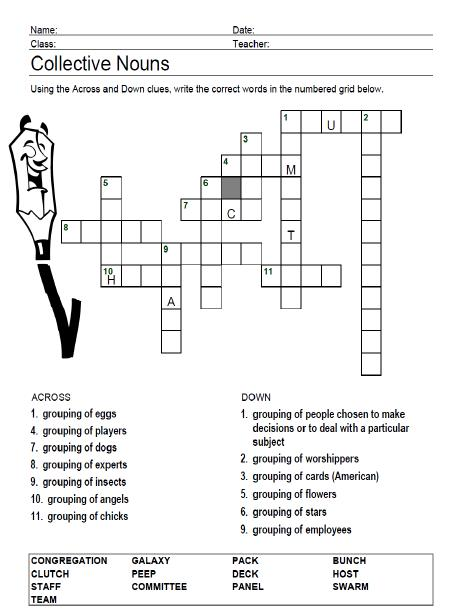 Collective Nouns Crossword