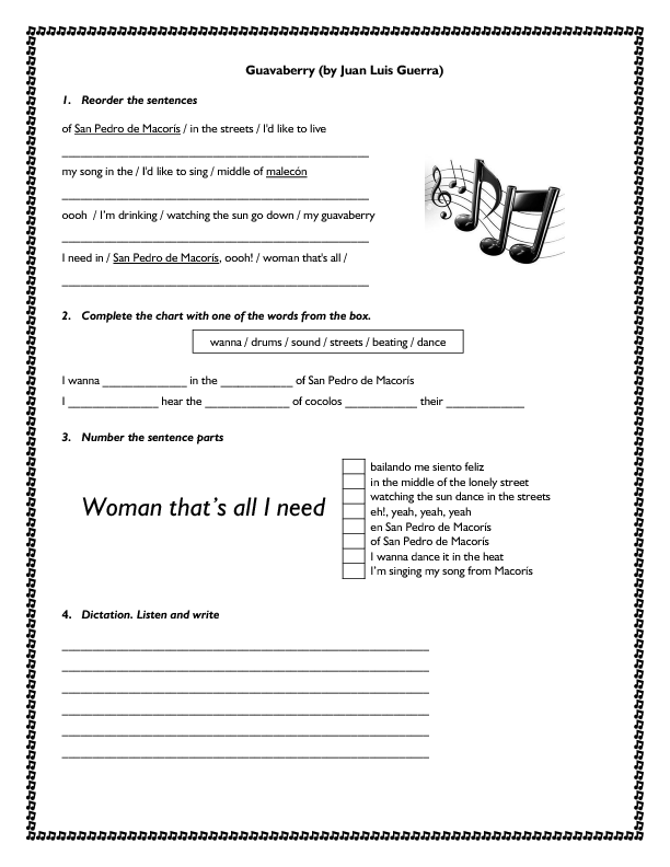 Song Worksheet: Guavaberry