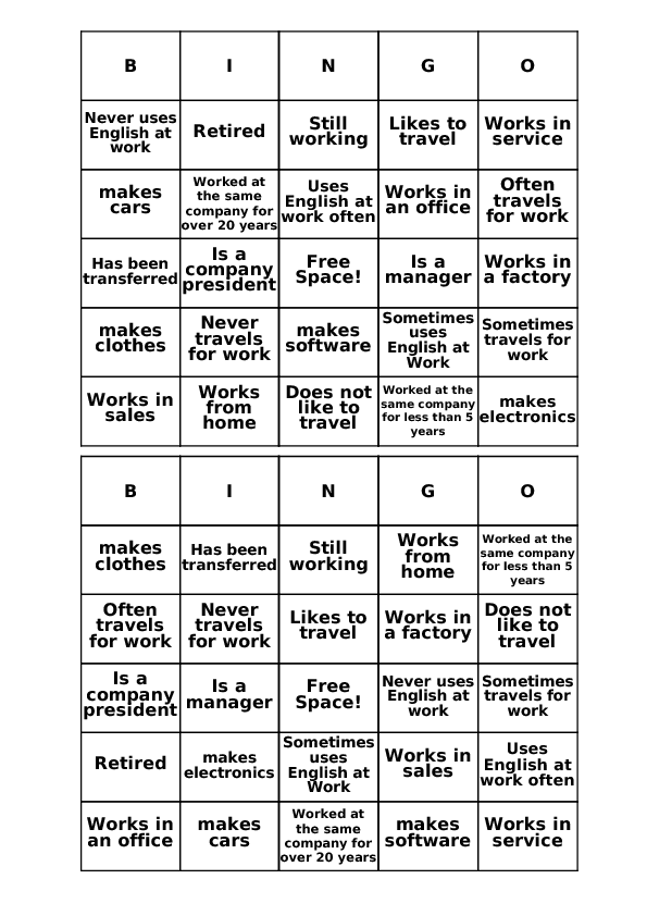 Job Bingo Cards