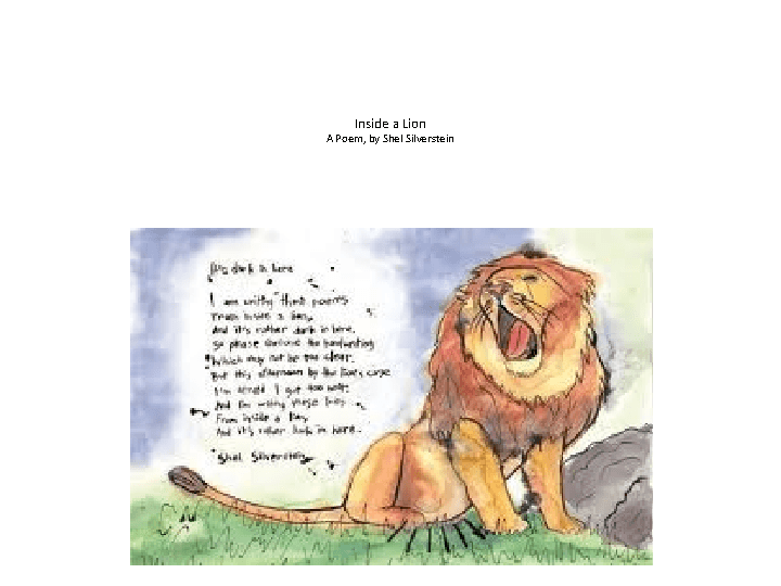 Inside A Lion A Poem By Shel Silverstein Powerpoint