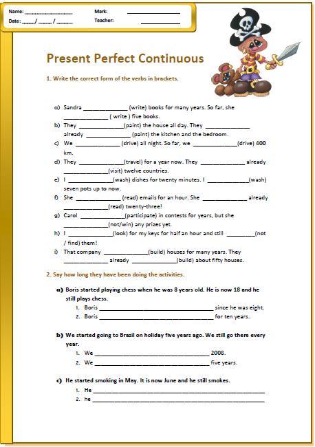 Worksheet on present perfect tense pdf