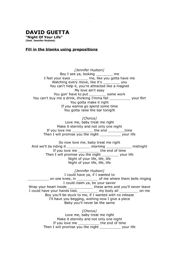 Lyric lyrics promise : Worksheet: Night of Your Life by David Guetta