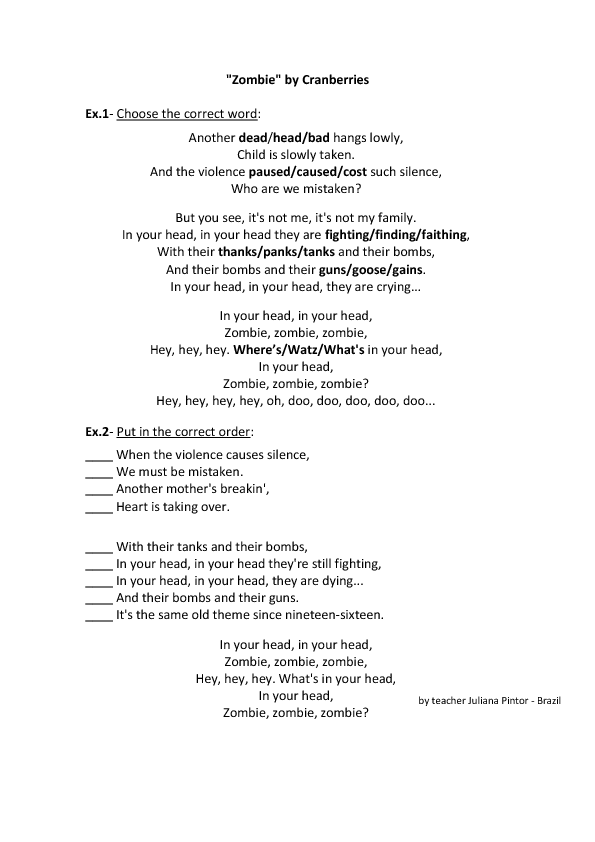 Song Worksheet: Zombie by Cranberries