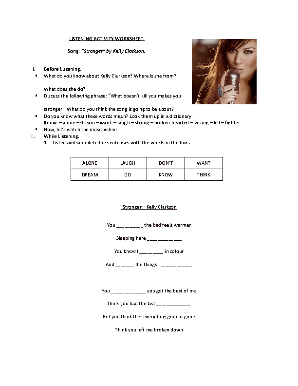 Song Worksheet What Doesnt Kill You Makes You Stronger Present