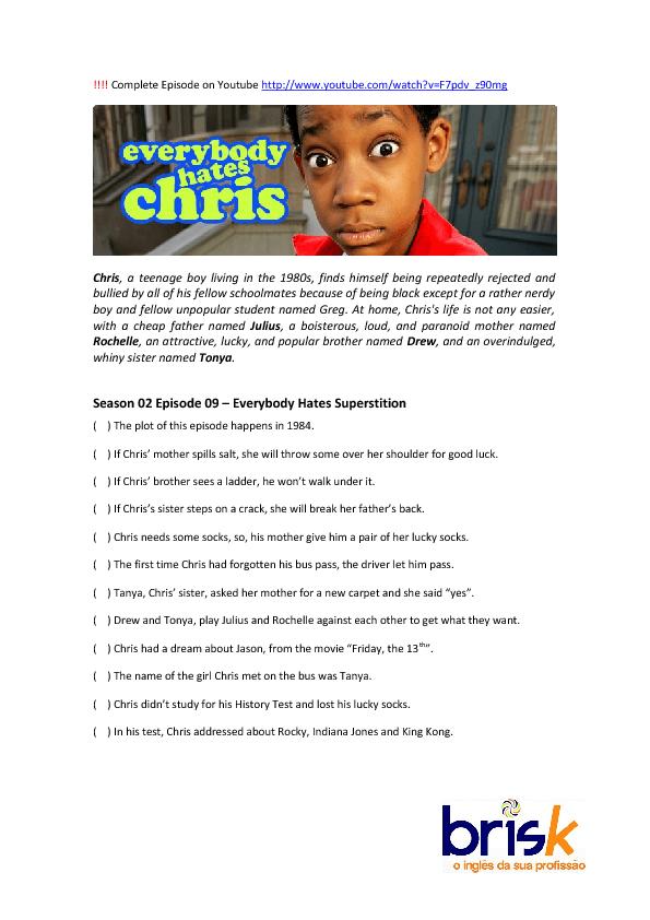 Movie Worksheet: Everebody Hates Chris (Halloween Quiz)