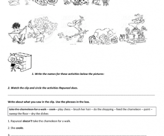 Movie Worksheet: Tangled (Daily Routines and Household Chores) 1