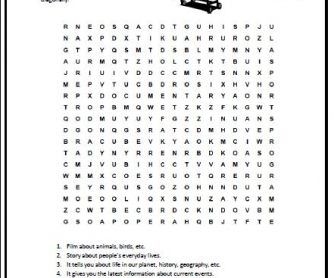 Types of TV Programmes Wordsearch