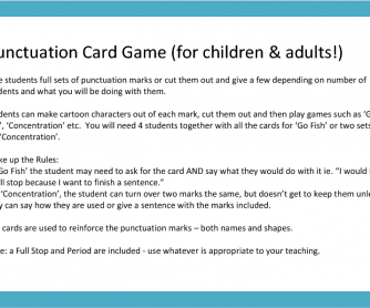 Punctuation Mark Card Game