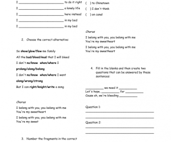 Song Worksheet: Ho Hey, by The Lumineers