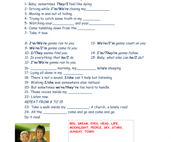 Song Worksheet: Run to You by Roxette
