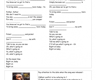 Song Worksheet: What's Going on by Marvin Gaye