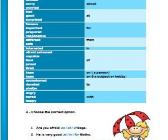 Adjectives + Preposition Elementary Worksheet