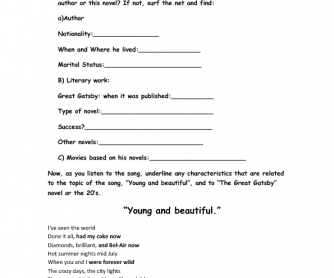 Song Worksheet: Young and Beautiful by Lana del Rey ( Great Gatsby Soundtrack)