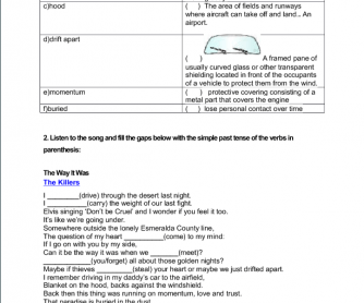 Song worksheet: The Way it Was