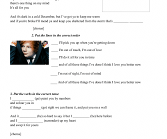 Song Worksheet: Lego House by Ed Sheeran