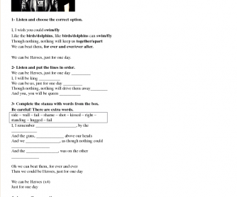 Song Worksheet: Heroes by The Wallflowers