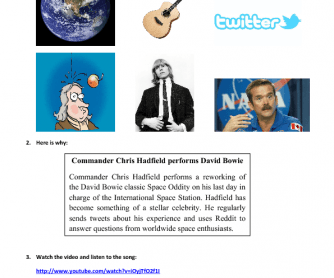 Song Worksheet: Chris Hadfield Singing David Bowie's song