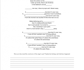 Song Worksheet: It Must've Been Love ( Advisability and Speculations)