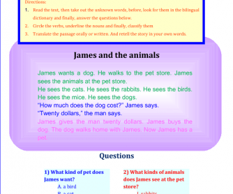 James and the Animals- Reading Comprehension