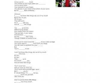 Song Worksheet: Little Things by One Direction