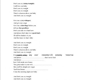 Song Worksheet: Don't Cry by Guns'n'Roses