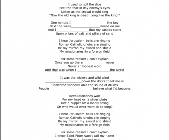 Song Worksheet: Viva la Vida