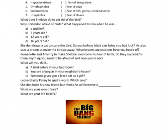 Movie Worksheet: Sheldon Cooper's Fears and Phobias ( The Big Bang Theory)