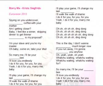 Song Worksheet: Marry Me by Krista Siegfrids (Eurovision 2013)