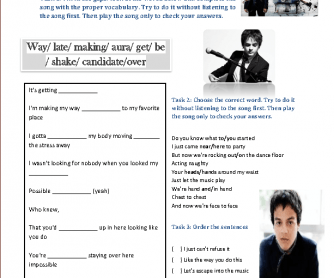 Song Worksheet : Don't Stop the Music