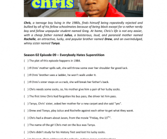Movie Worksheet: Everebody Hates Chris (Halloween Quiz)