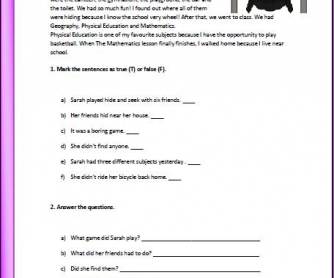 Past Simple through Reading Elementary Worksheet