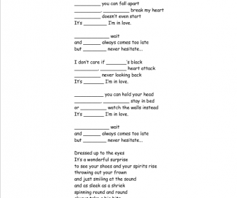Song Worksheet: Friday I'm in Love