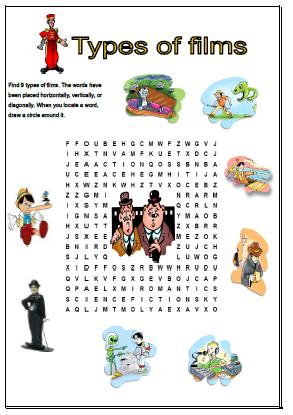 of Films Wordsearch Puzzle