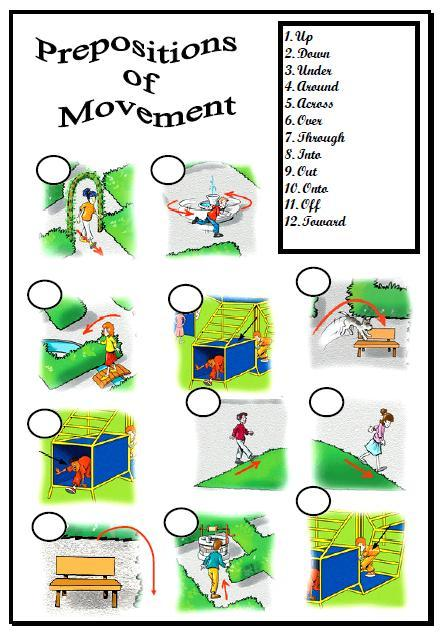 prepositions of movement matching activity. Black Bedroom Furniture Sets. Home Design Ideas