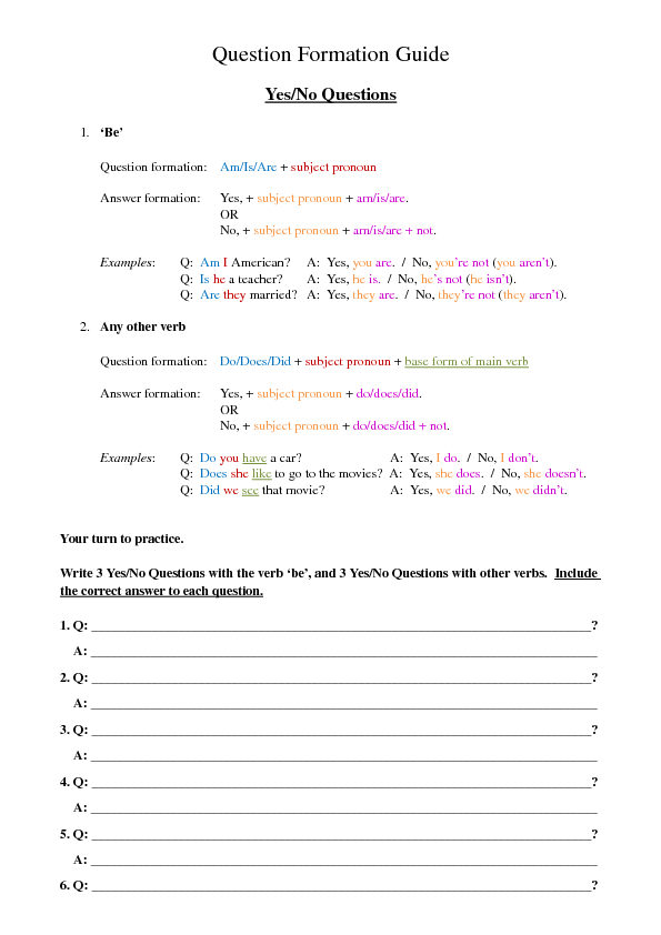 Yes No And Wh Question Formation Guide